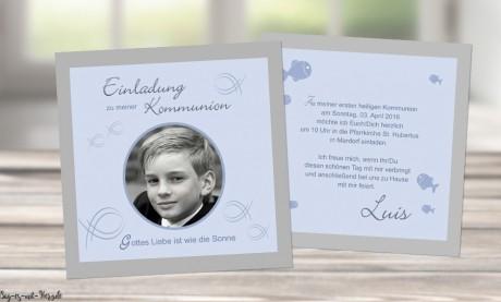Einladungskarten Konfirmation Kommunion mit Foto Fisch Fische