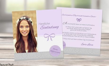 Einladungskarten Konfirmation Kommunion flieder lila Mädchen grau
