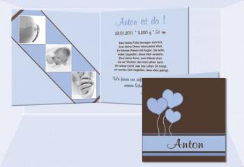 "Geburtskarte ""Anton"" Klappkarte 12,5x12,5 cm, braun hellblau"