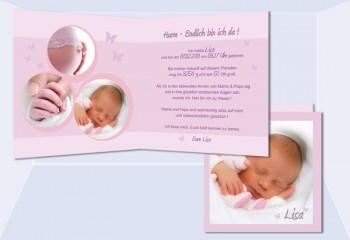 "Geburtskarte ""Lisa"" Klappkarte 12,5x12,5 cm, rosa"