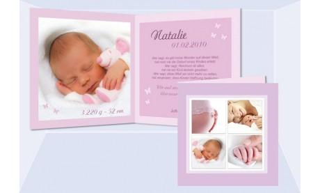"Geburtskarte ""Natalie"" Klappkarte 12,5x12,5 cm, rosa"