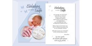 """Einladung Taufe """"Elina"""", Taufeinladung, Postkarte 10x15 cm, hellblau"""