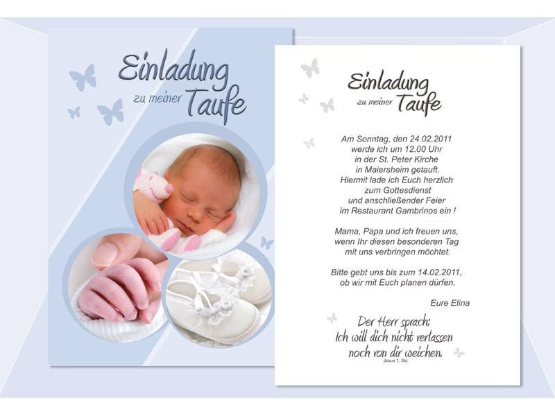 Einladung Taufe, Taufeinladung, Fotokarte, Einladungskarten, hellblau
