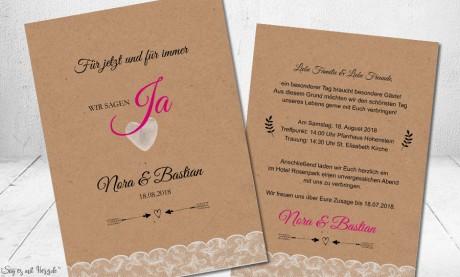 Einladungskarten Hochzeit Naturpapier