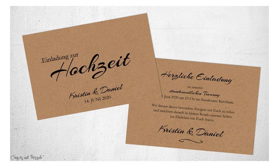 Einladungen Hochzeit Kraftpapier