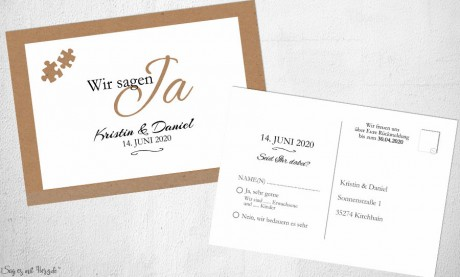 Einladungskarten Save the Date Kraftpapier