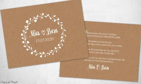 Einladungskarten Hochzeit rustikal floral