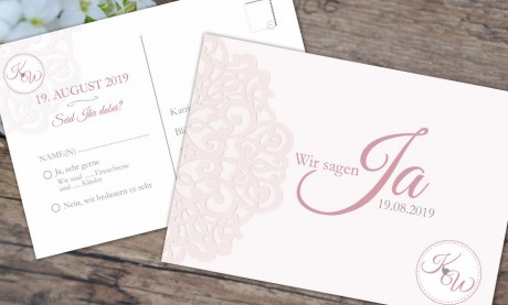 Antwortkarte Hochzeitseinladung rosa Spitze