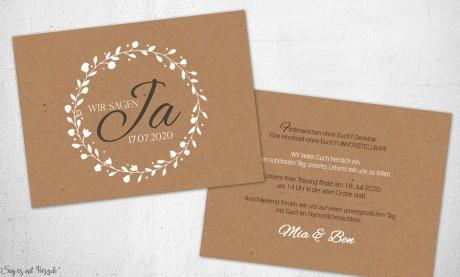 Einladungskarten Hochzeit Kraftpapier Vintage Blumen rustikal