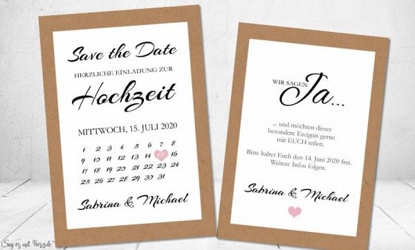 Einladungskarten Save the Date Kalender
