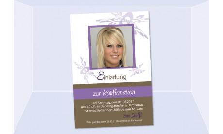 Einladung Kommunion / Konfirmation, Fotokarte 10x15 cm, lila