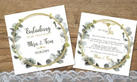 Einladung Hochzeit Eukalyptus aquarell