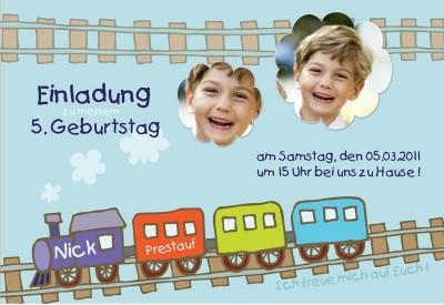 Einladung Geburtstag Kindergeburtstag Fotokarte 10x15 Cm Eisenbahn