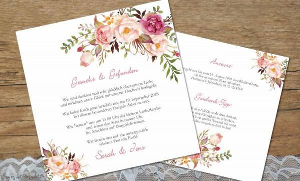 Einladung Hochzeit Blumen rosa
