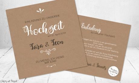Einladungskarten Hochzeit Kraftpapier modern
