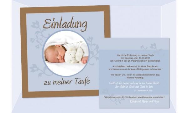 Karte Taufe Einladung.Einladung Taufe Taufeinladung Fotokarte Einladungskarten Braun Hellblau