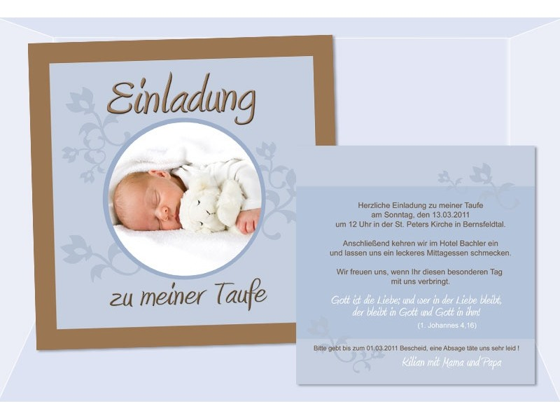 Einladung Taufe, Taufeinladung, Fotokarte