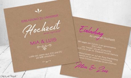 Einladungskarten Hochzeit rosa Kraftpapier