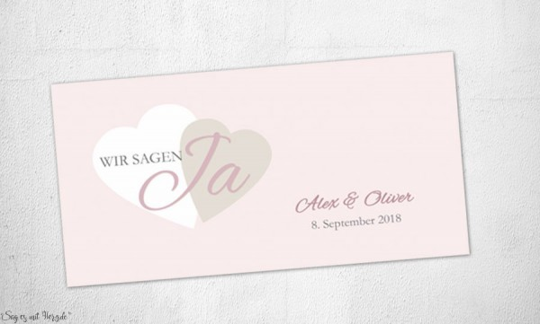 Einladungskarten Hochzeit  elegant rosa