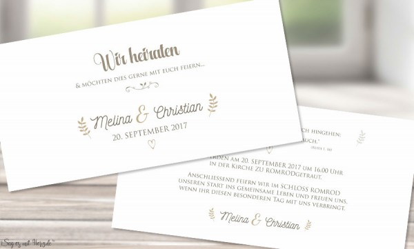 Einladungskarten Hochzeit edel