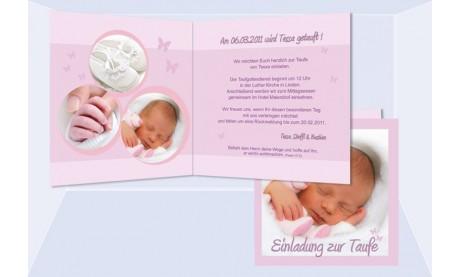 "Einladung Taufe ""Tessa"", Taufeinladung, Klappkarte 12,5x12,5 cm, rosa"
