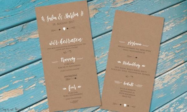 Einladungskarte Hochzeit Kraftpapier weiß