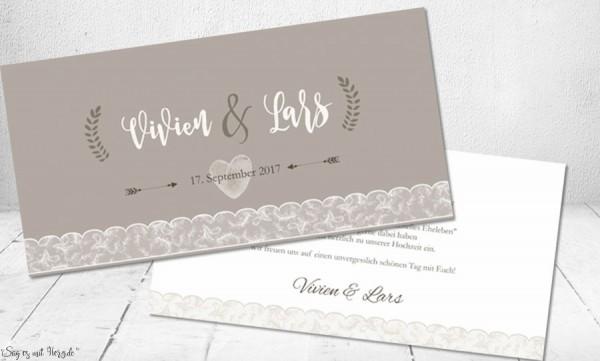 Einladungskarten Hochzeit mit Spitze in taupe