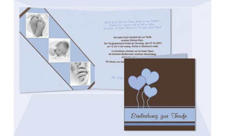 "Einladung Taufe ""Tim"", Taufeinladung, Klappkarte 12,5x12,5 cm, rosa"