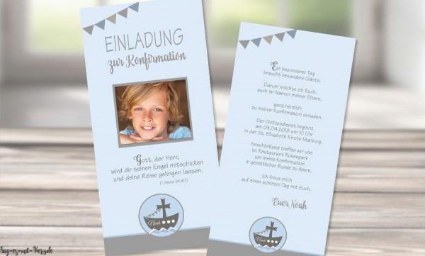 Einladungskarten Konfirmation blau