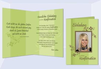 Einladung Kommunion / Konfirmation, Klappkarte, Braun Grün