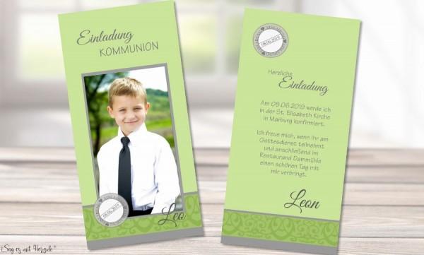 Einladungskarten Kommunion grün