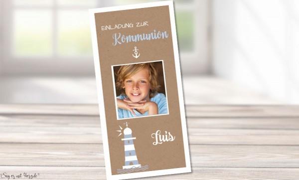 Einladungskarten Kommunion Leuchtturm