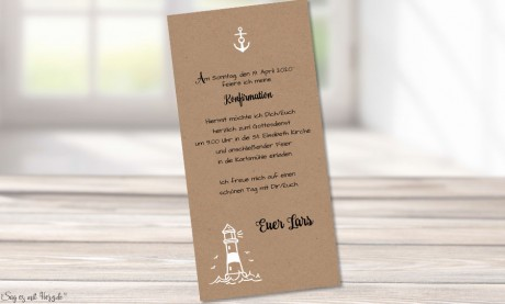 Einladungskarten Konfirmation Leuchtturm