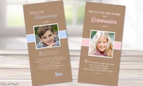 Einladungskarten Kommunion Kraftpapier mit Foto