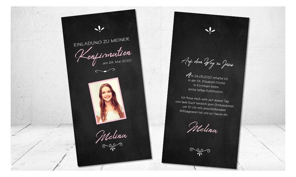 Moderne Einladungskarten Konfirmation Tafellook Tafelschrift schwarz rosa