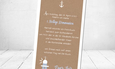 Einladung Kommunion Leuchtturm Anker