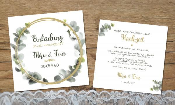 Einladungskarten Hochzeit Eukalyptus aquarell
