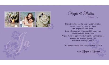 Hochzeitskarte, Einladung Hochzeit, Klappkarte, lila