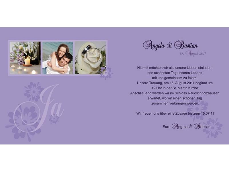 Hochzeitskarte hochzeitseinladung einladung einladungskarten hochzeit lila - Hochzeitseinladung text modern ...