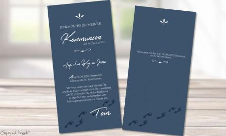 Einladungskarten Kommunion blau