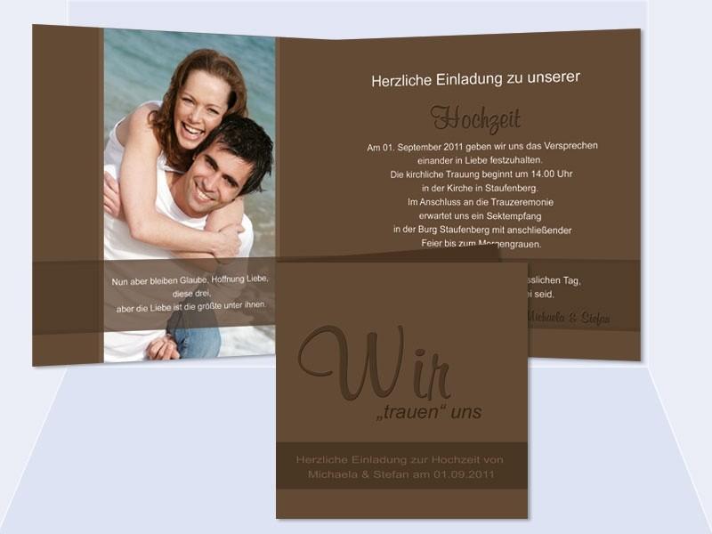 Hochzeitskarte, Einladung Hochzeit, Klappkarte Quadrat, Braun ...