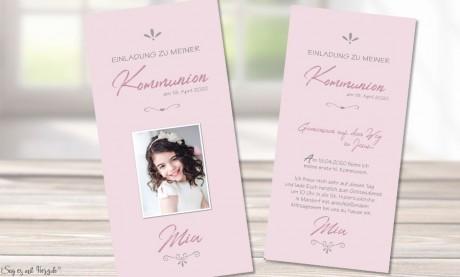 Einladungskarten Kommunion rosa