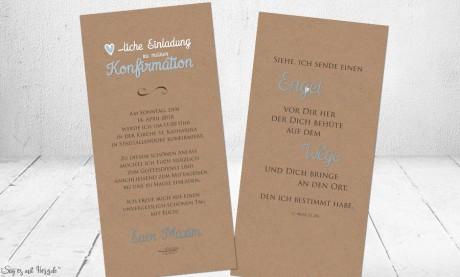 Einladungskarten Kommunion Kraftpapier