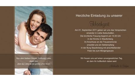 Hochzeitskarte, Einladung Hochzeit, Klappkarte Quadrat, braun