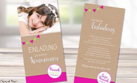 Einladungskarten Kommunion für Mädchen