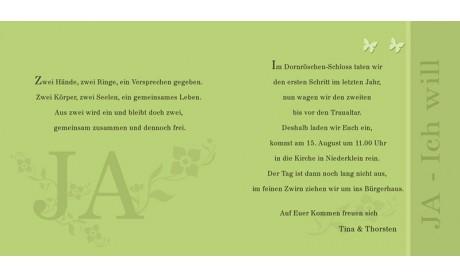 Hochzeitskarte, Einladung Hochzeit, Klappkarte Quadrat, grün