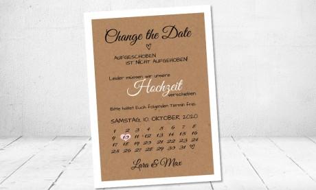 Change the Date Postkarten Hochzeit Kraftpapier
