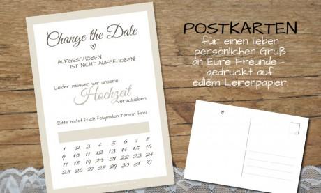 Change the Date Postkarten Hochzeit