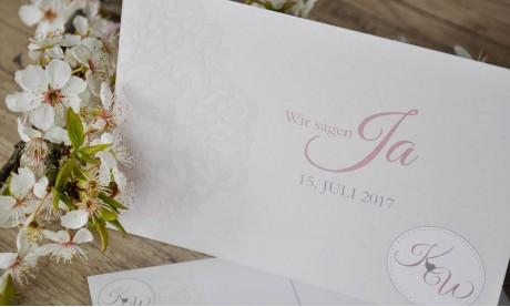 Save the date Karten Hochzeit Vintage rosa Spitze