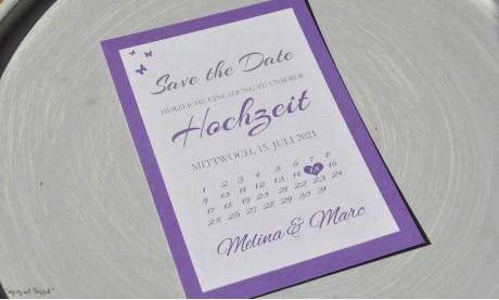Save the date Karten Hochzeit lila flieder